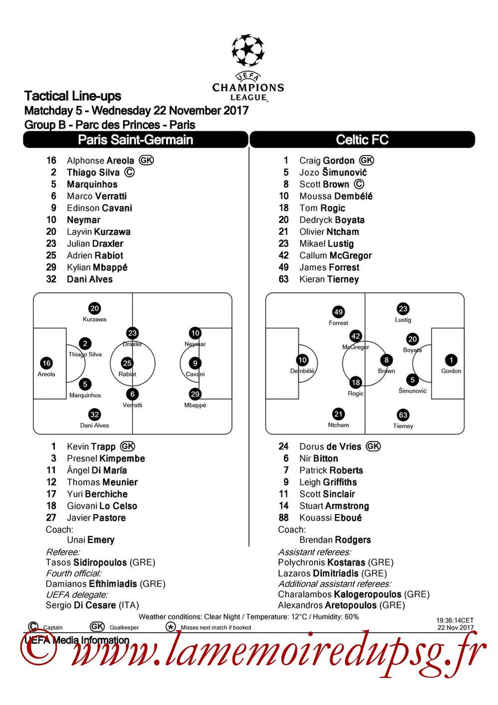 2017-11-22  PSG-Celtic (5ème C1, Feuille de match UEFA)