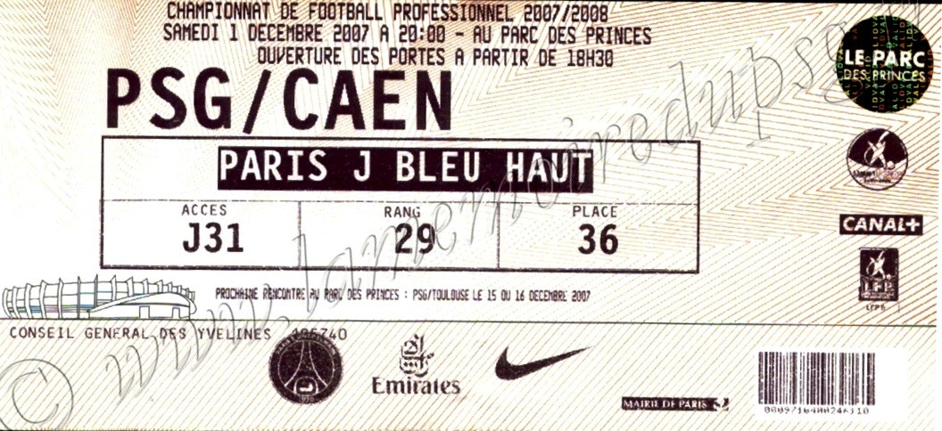 2007-12-01  PSG-Caen (16ème L1)