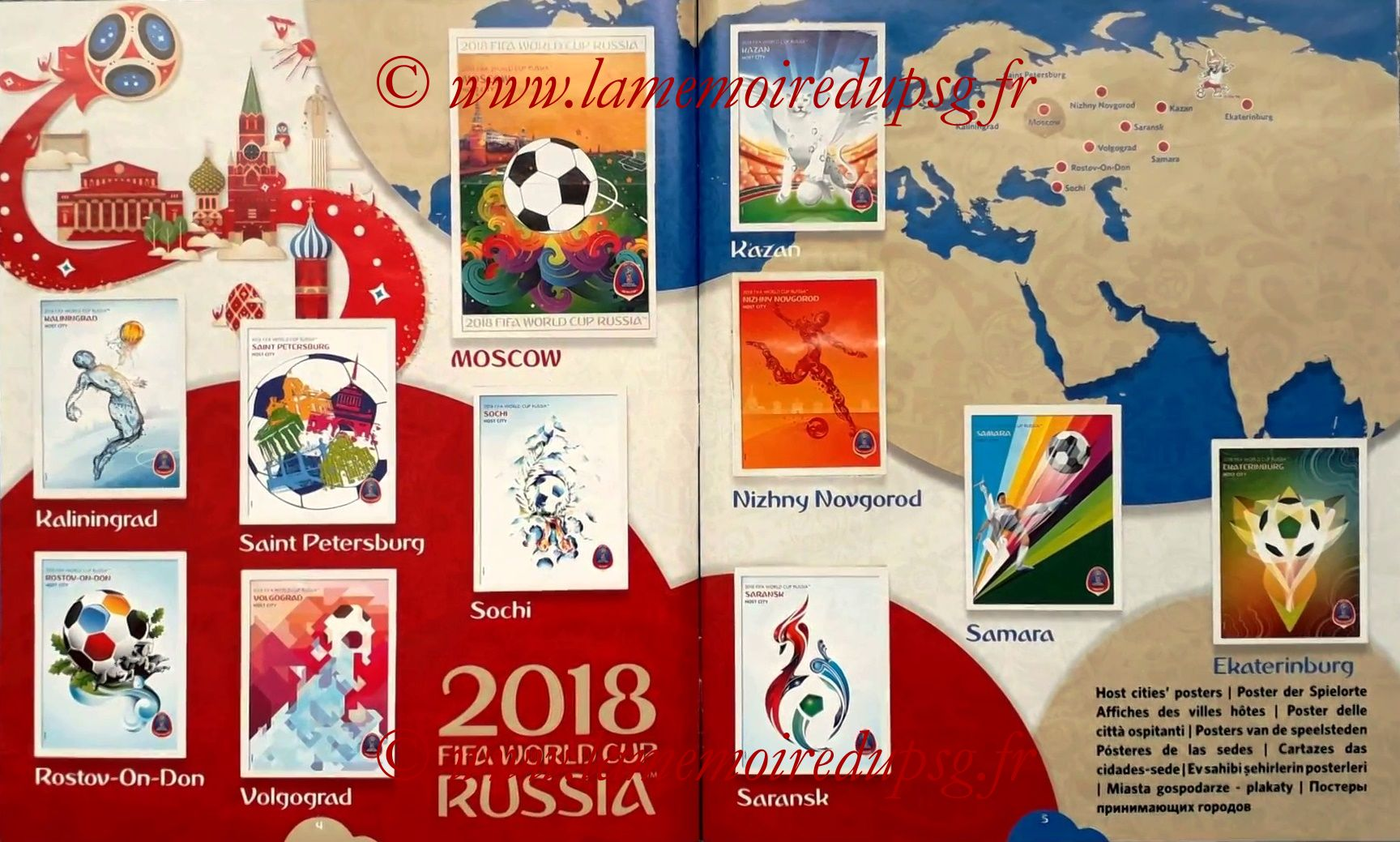 2018 - Panini FIFA World Cup Russia Stickers - Pages 04 et 05 - Villes