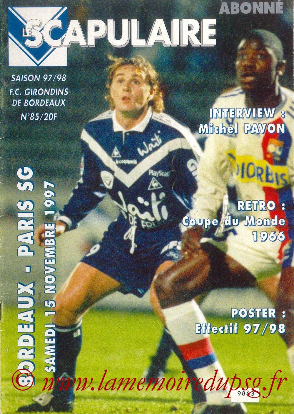 1997-11-15  Bordeaux-PSG (16ème D1, Le Scapulaire N°85)