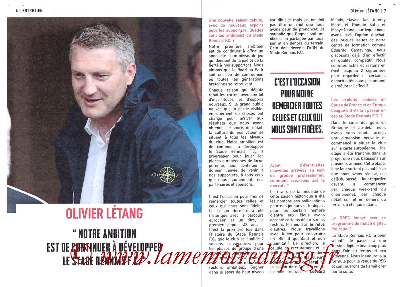 2019-08-18  Rennes-PSG (2ème L1, Programme officiel) - Pages 06 et 07