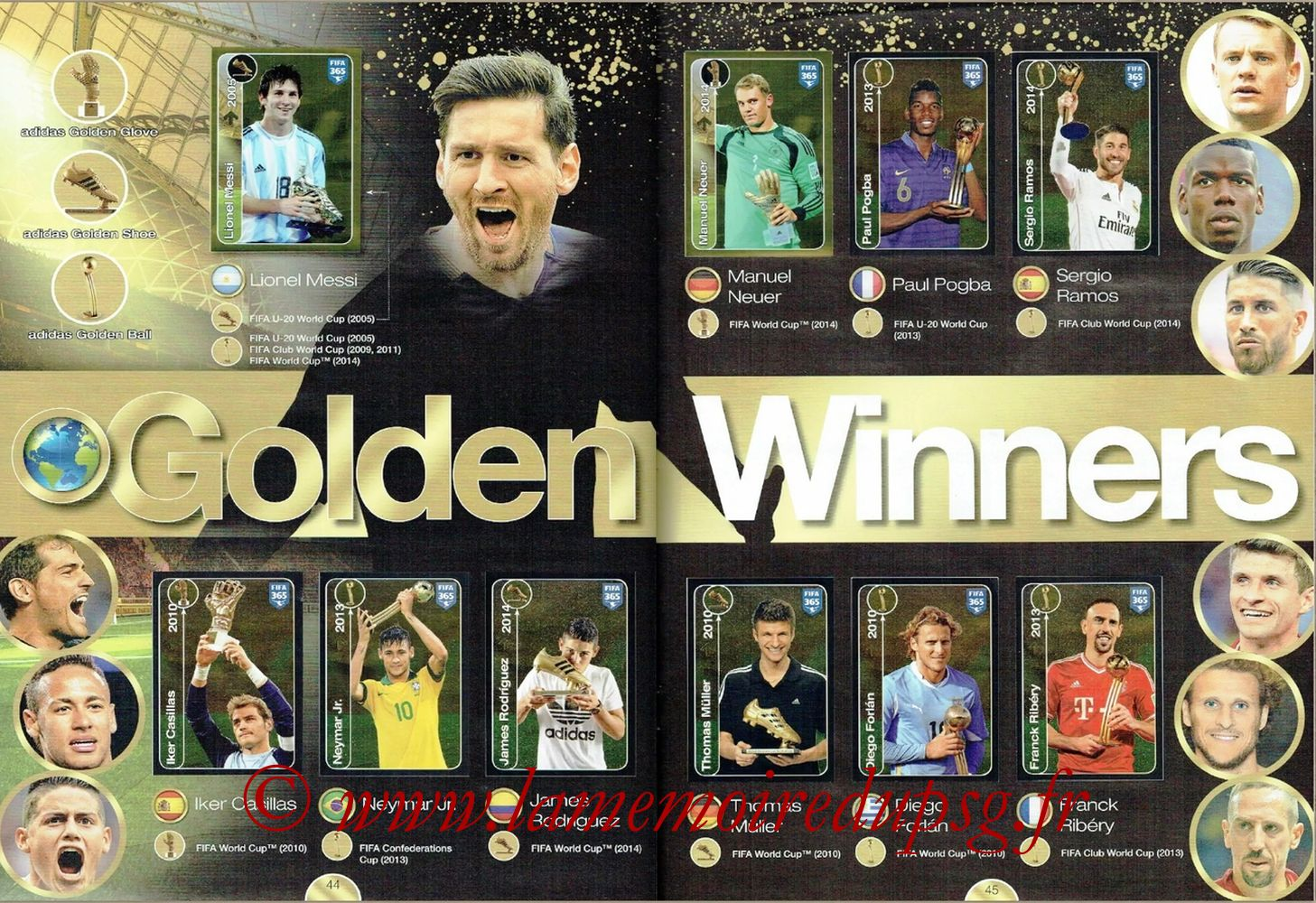 2016-17 - Panini FIFA 365 Stickers - Pages 44 et 45 - Golden Winners
