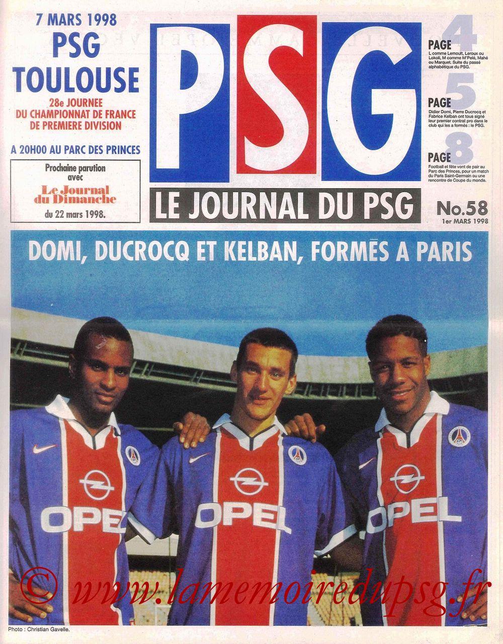 1998-03-07  PSG-Toulouse (28ème D1, Le Journal du PSG N° 58)