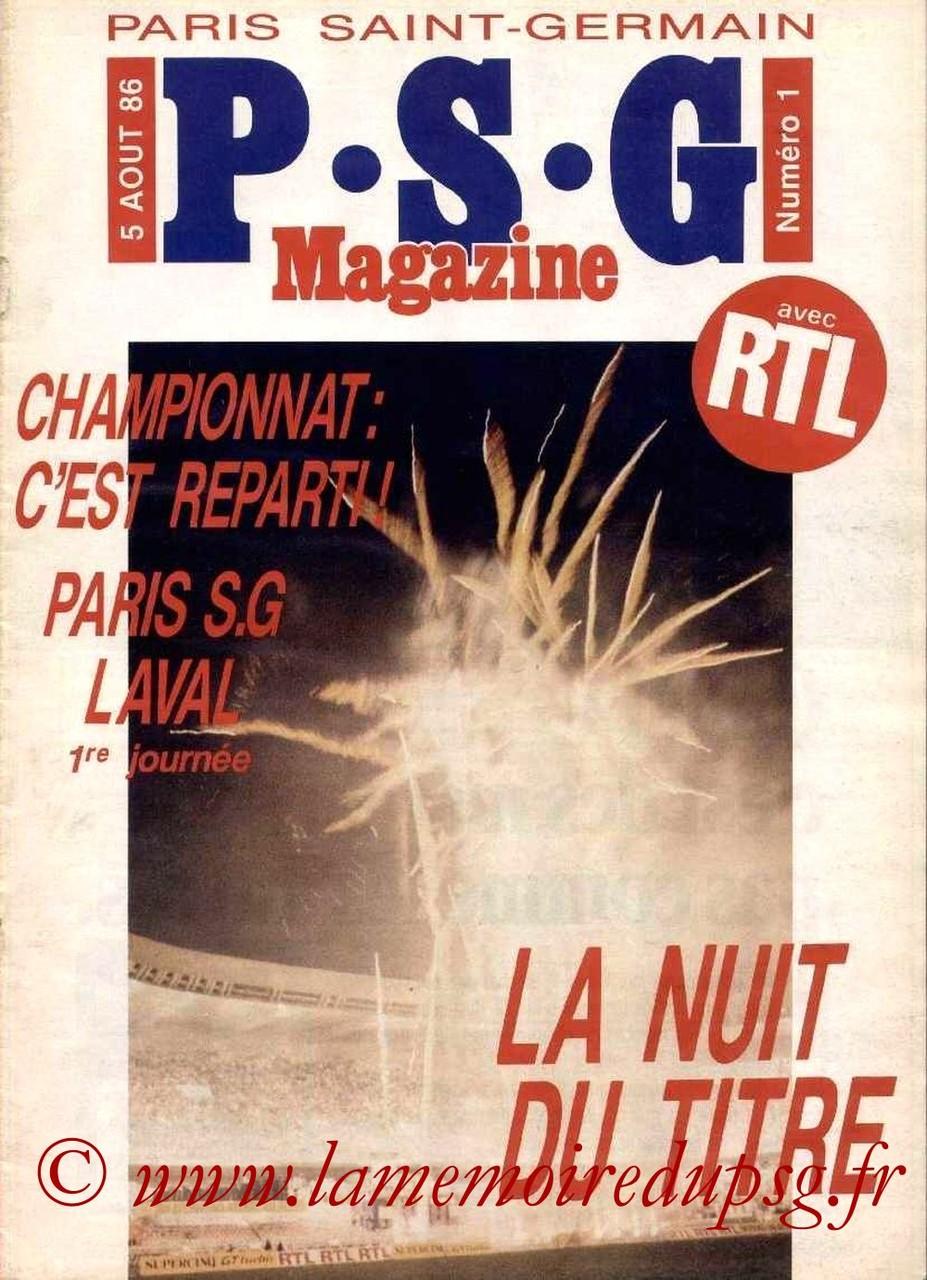 1986-08-05  PSG-Laval (1ère D1, PSG Magazine N°1)