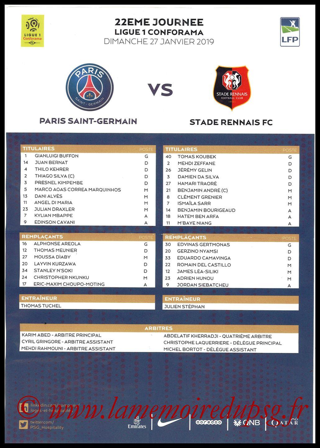 2019-01-27  PSG-Rennes (22ème L1, Feuille de match)