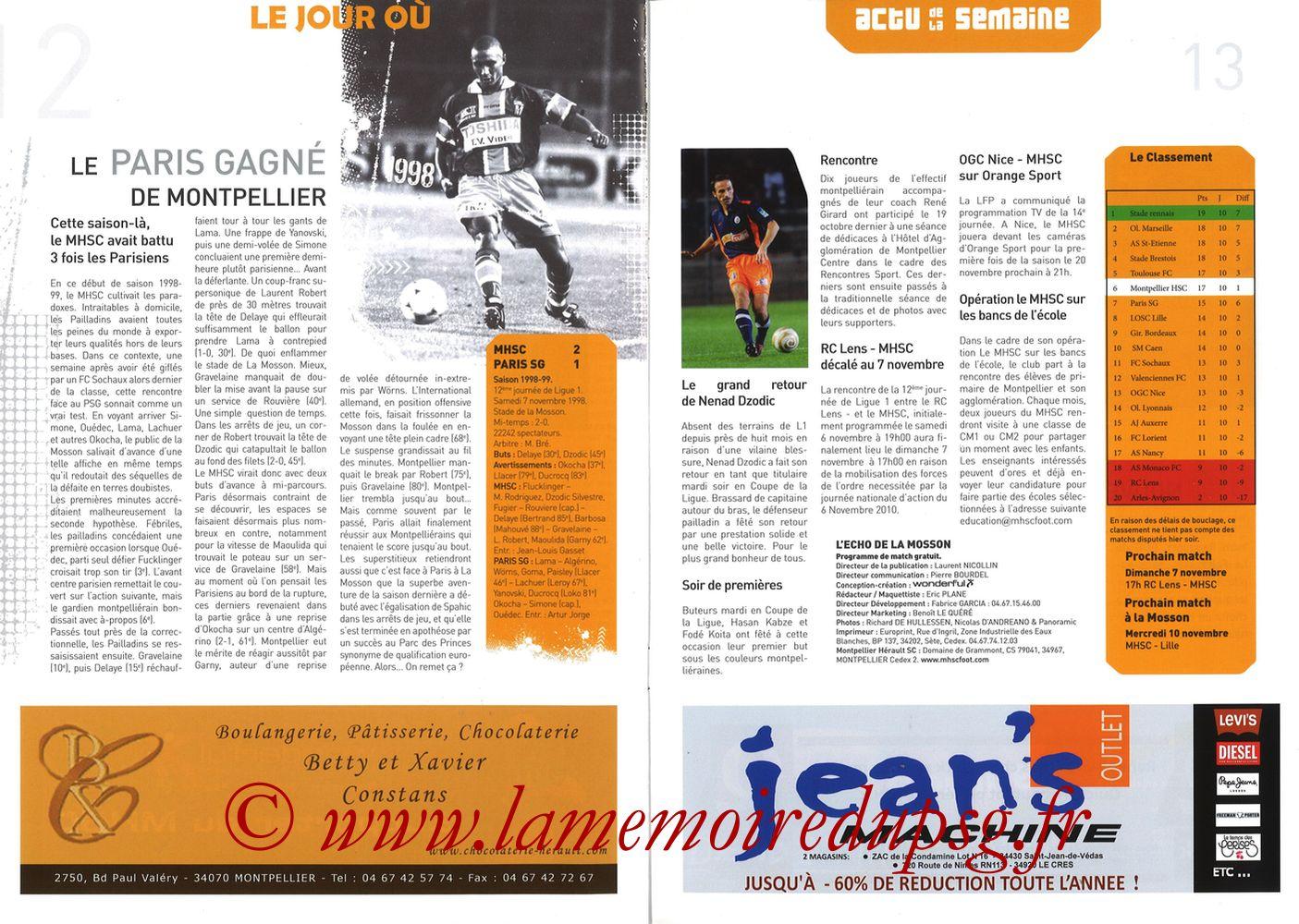 2010-10-31  Montpellier-PSG (11ème L1, L'Echo de la Mosson N°6) - Pages 12 et 13