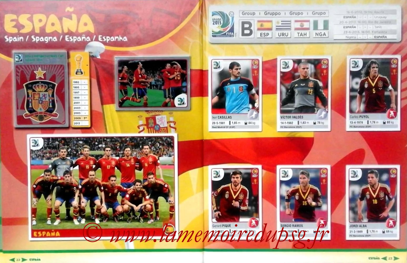 2013 - Panini Confederations Cup Brasil Stickers - Pages 22 et 23 - Espagne