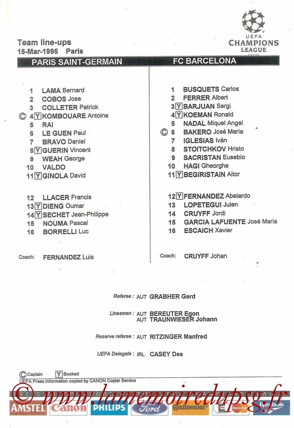 1995-03-15  PSG-Barcelone (Quart finale Retour C1, Feuille de match)