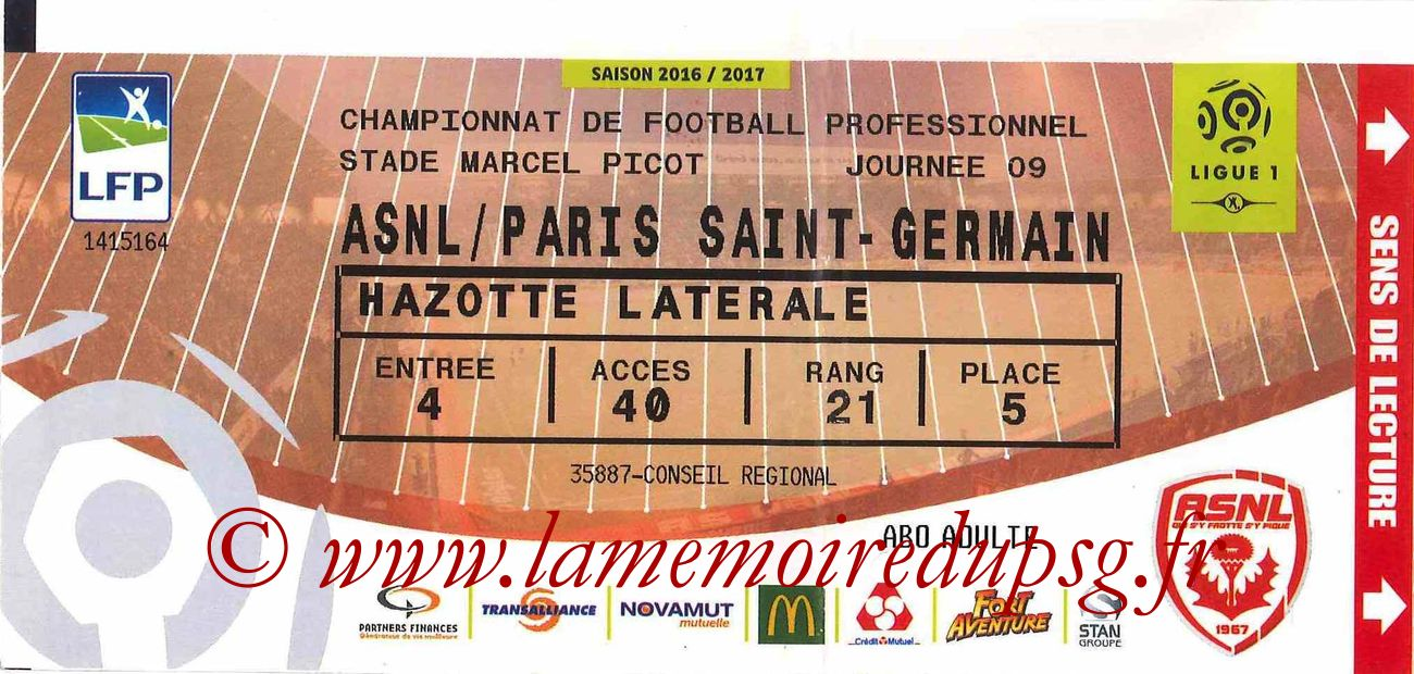 2016-10-15  Nancy-PSG (9ème L1)