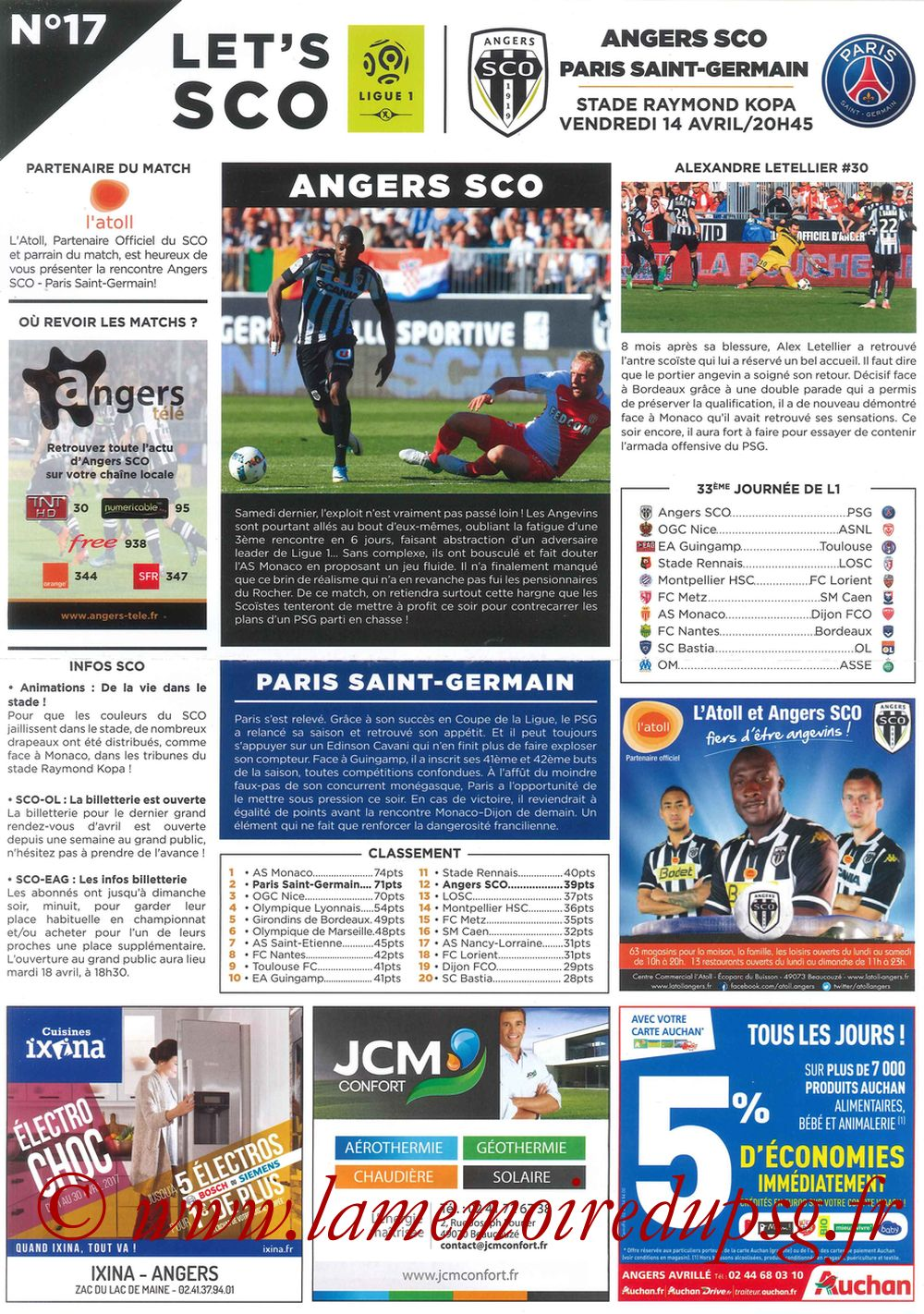 2017-04-14  Angers-PSG (33ème L1, Let's SCO N°17)