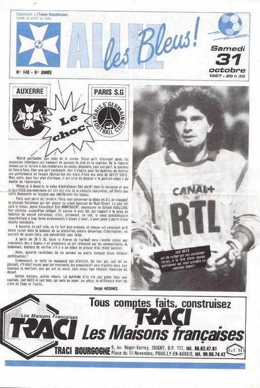 1987-10-31  Auxerre-PSG (17ème D1, Allez les bleus N°148)