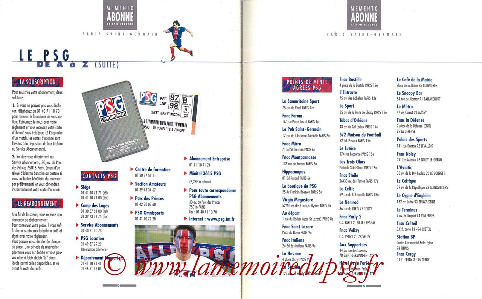 1997-98 - Guide de la Saison PSG - Pages 26 et 27