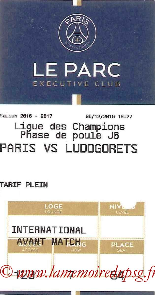 2016-12-07  PSG-Ludogorets (6ème C1, E-ticket Executive club)