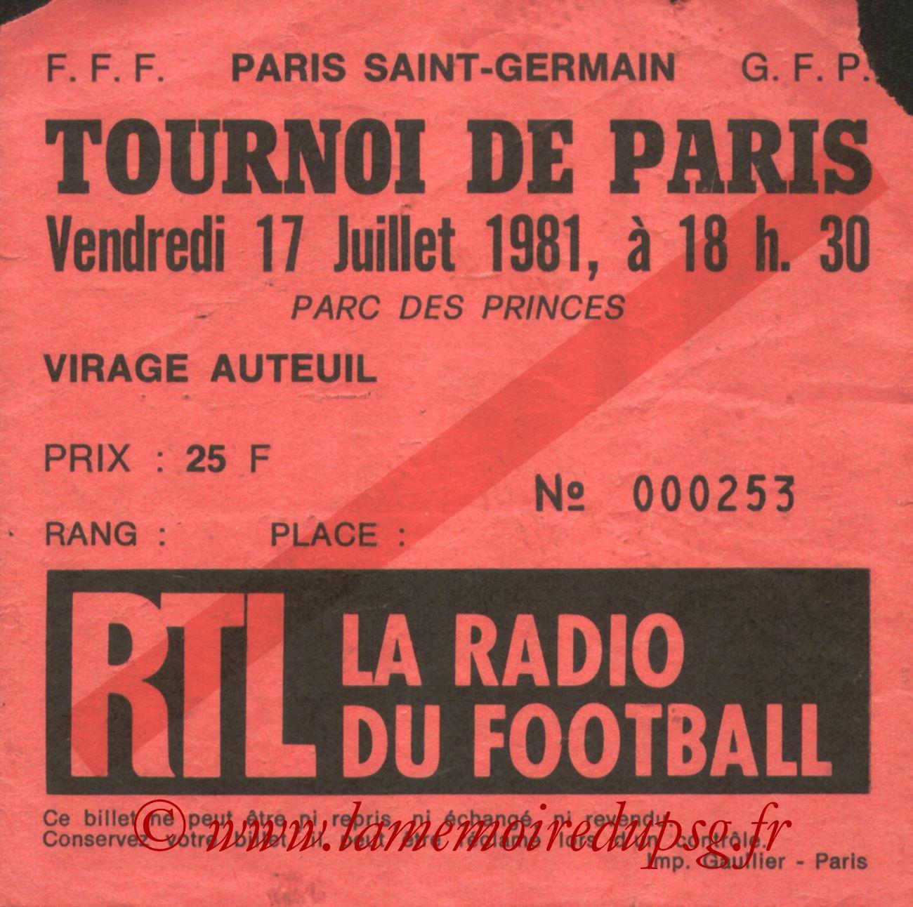 1981-07-17  PSG-Eintracht Francfort (Finale Tournoi de Paris, bis)