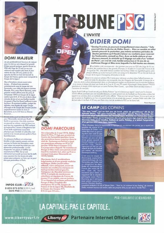 2001-03-03  PSG-Toulouse (28ème D1, Tribune PSG N°27)