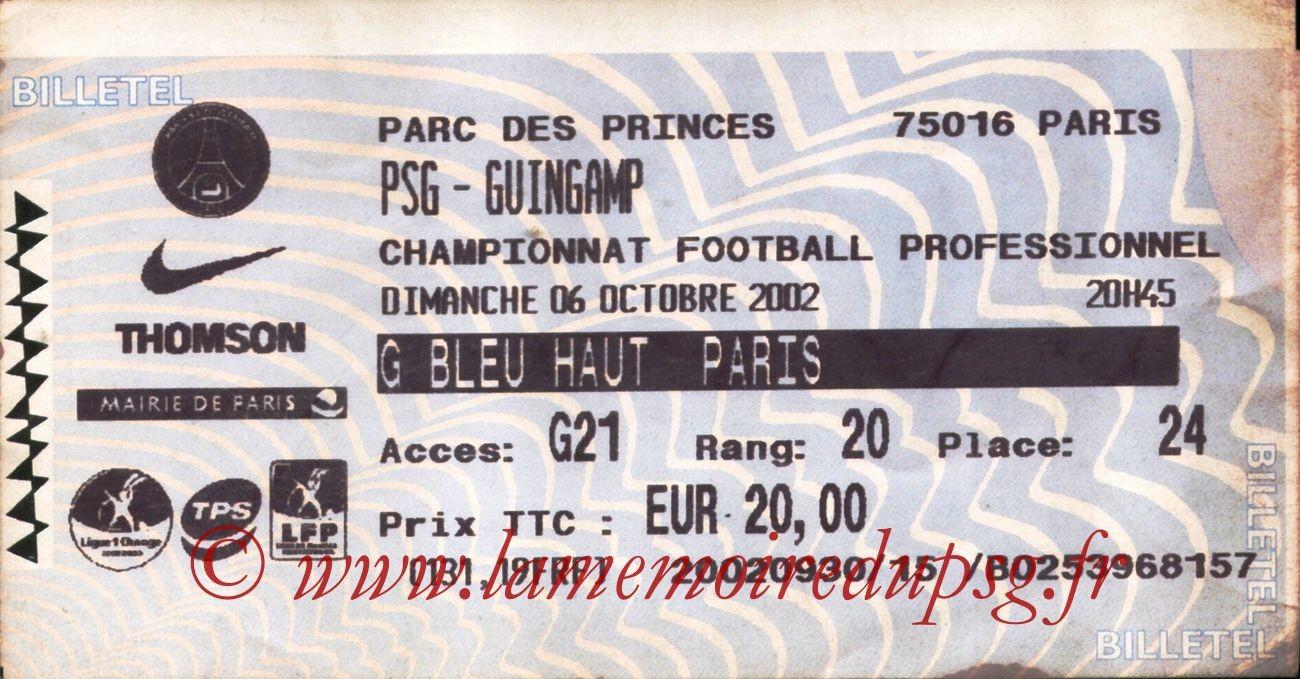 2002-10-06  PSG-Guingamp (10ème L1, Billettel)