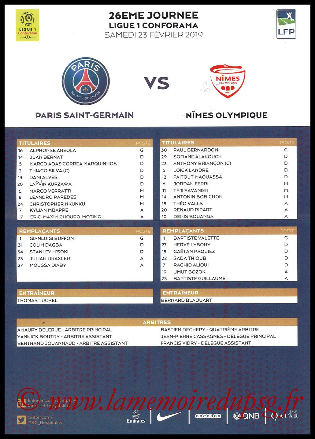 2019-02-23  PSG-Nîmes (26ème L1, Feuille de match)