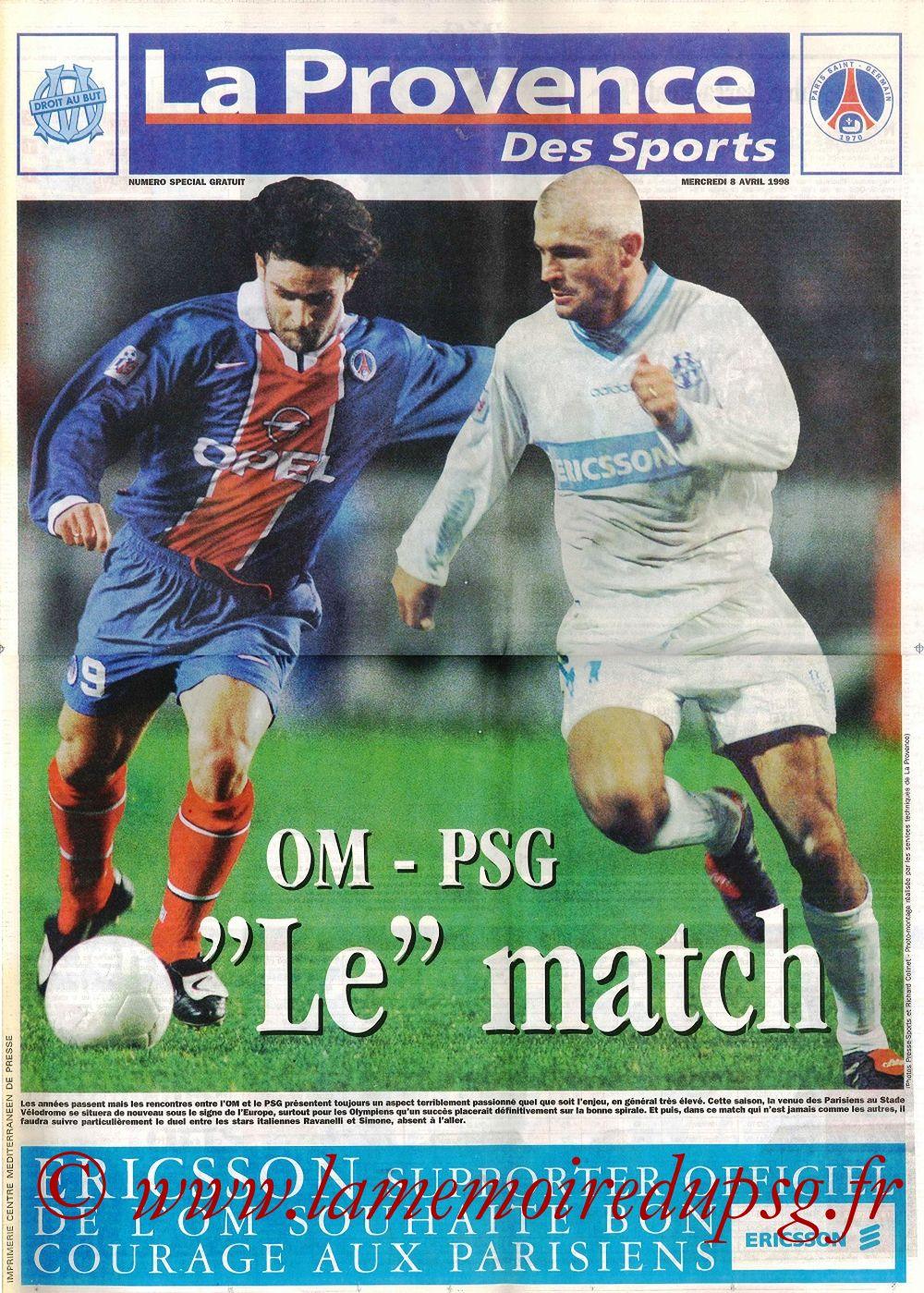 1998-04-08  Marseille-PSG (31ème D1, La Provence des Sports)