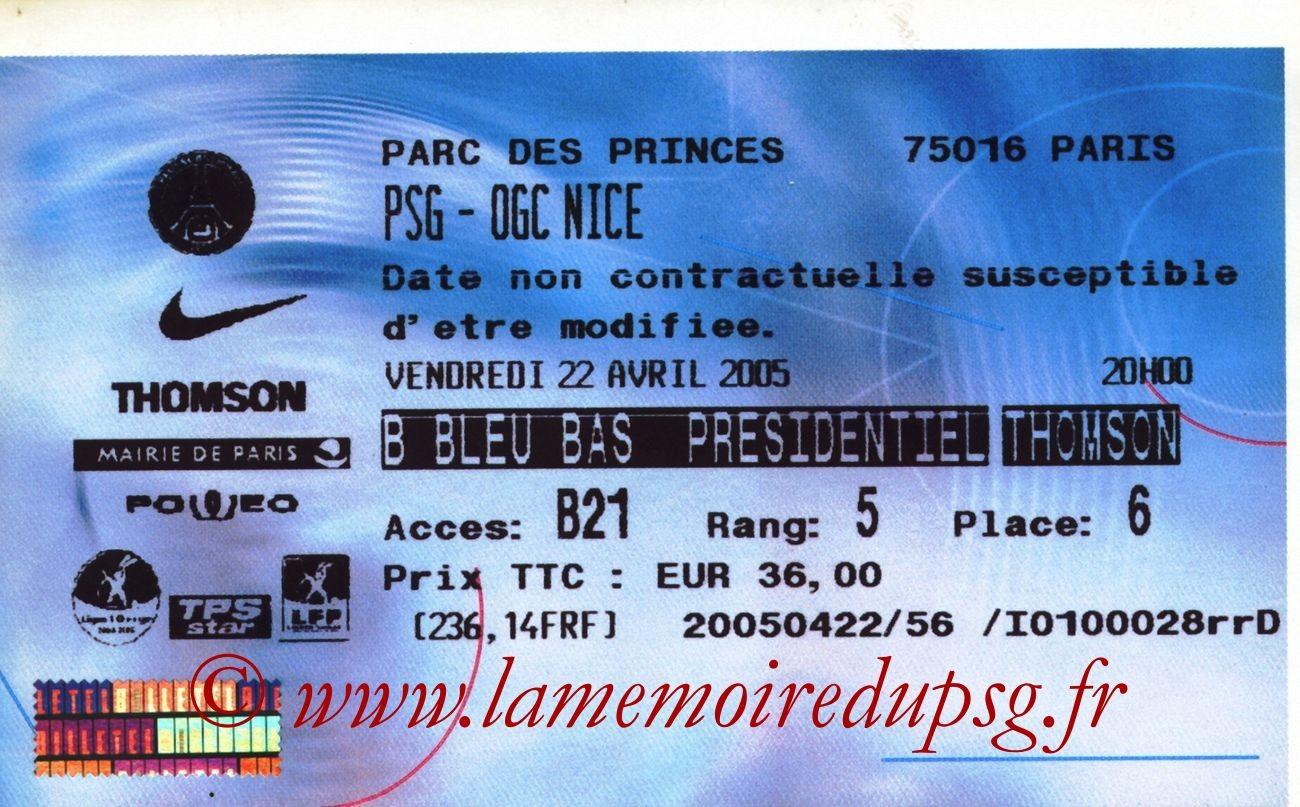 2005-04-22  PSG-Nice (34ème L1, Billetel)