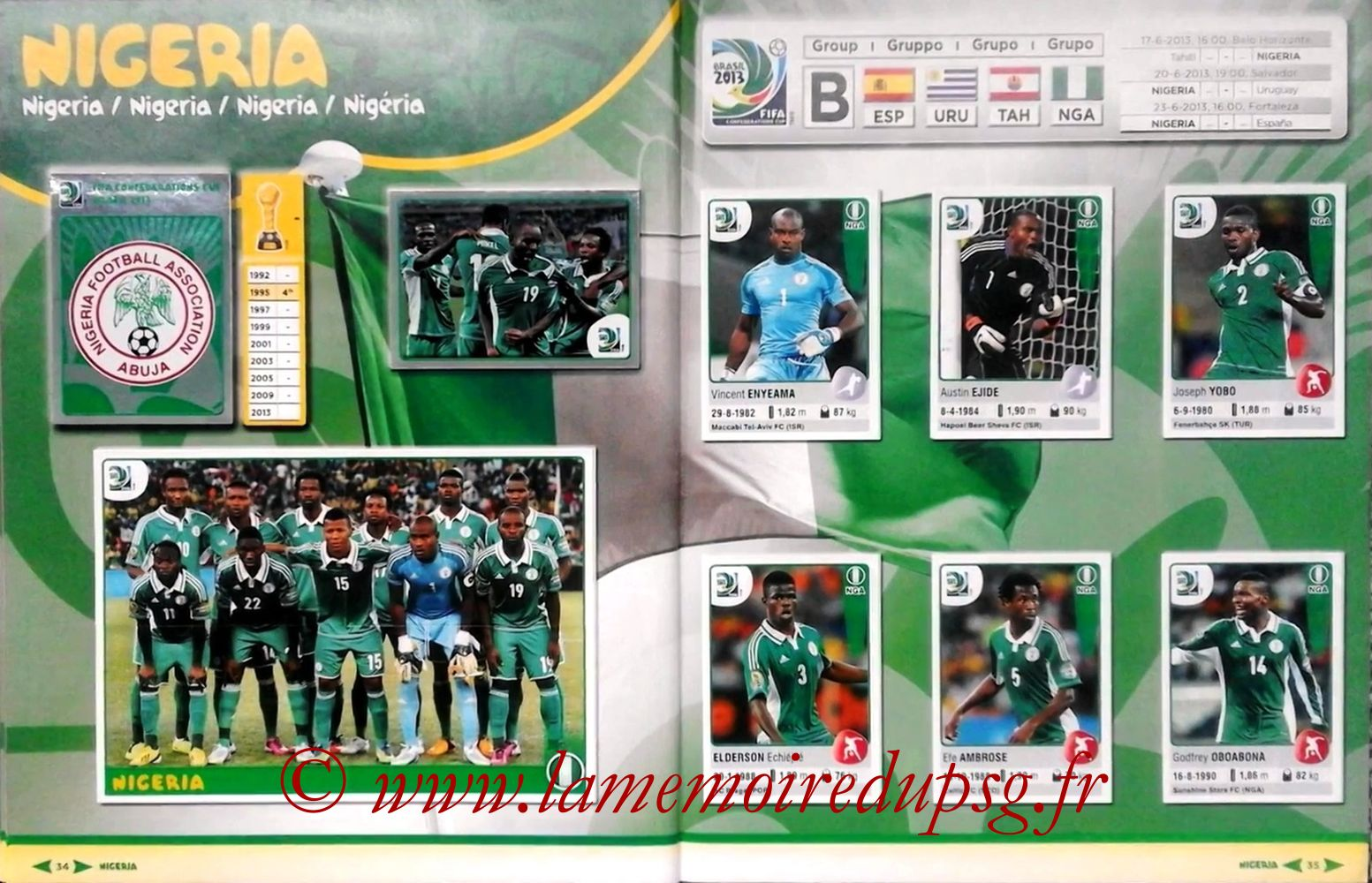 2013 - Panini Confederations Cup Brasil Stickers - Pages 34 et 35 - Nigeria