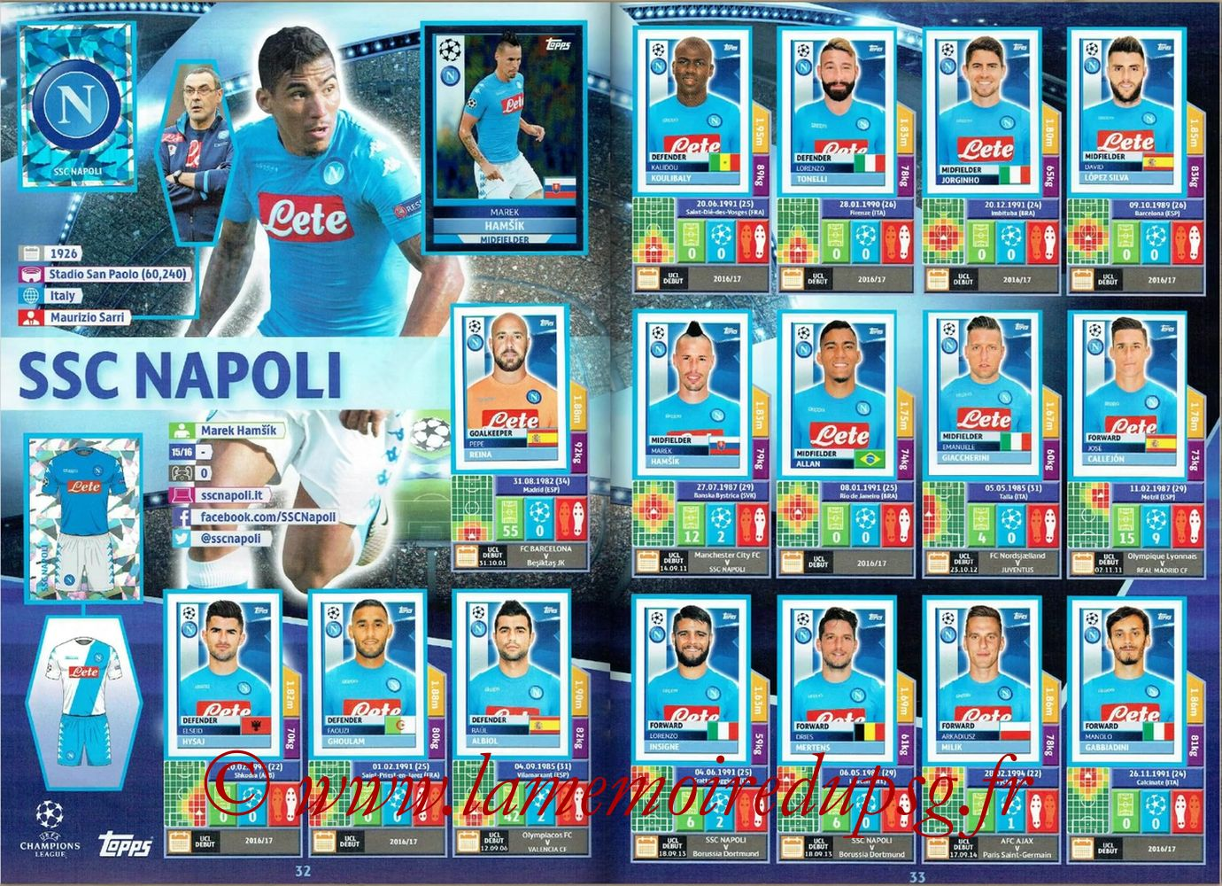 2016-17 - Topps UEFA Champions League Stickers - Pages 32 et 33 - SSC Napoli