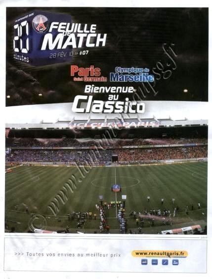 2010-02-28  PSG-Marseille (26ème L1, Feuille de Match N°7)