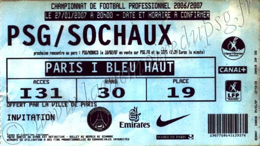 2007-01-27  PSG-Sochaux (22ème L1, bis)