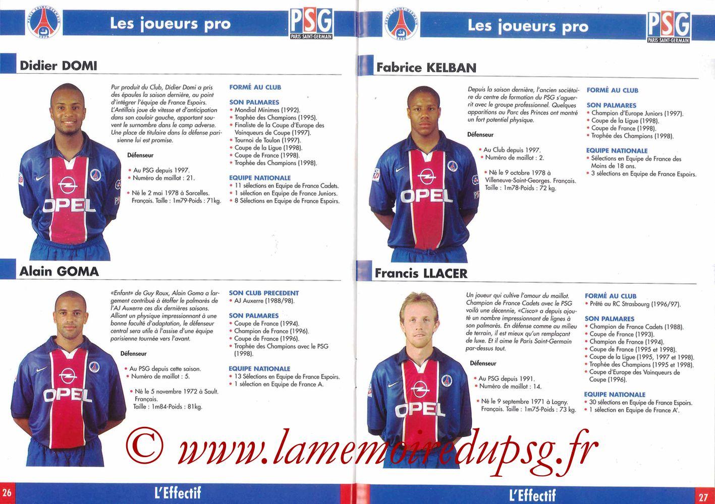 1998-99 - Guide de la Saison PSG - Pages 26 et 27