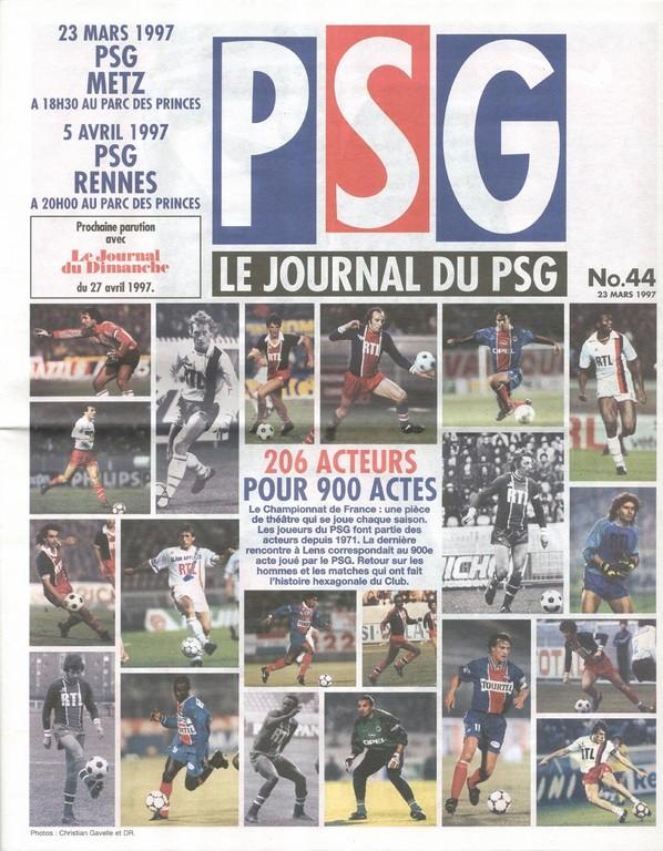 1997-04-05  PSG-Rennes (32ème D1, Le Journal du PSG N°44)
