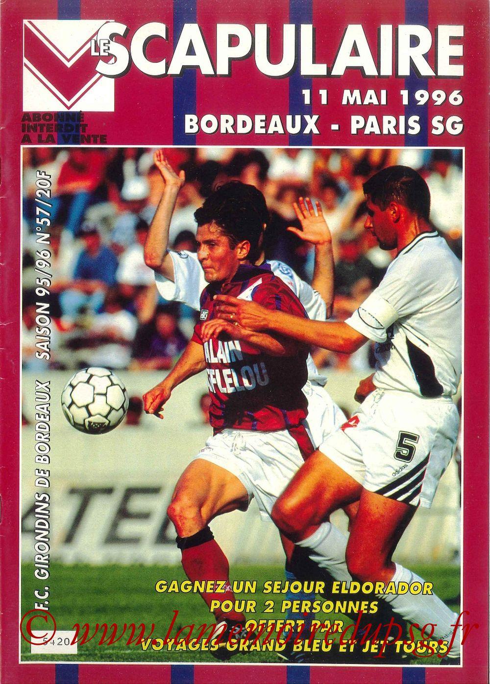 1996-05-11  Bordeaux-PSG (37ème D1, Le Scapulaire N°57)