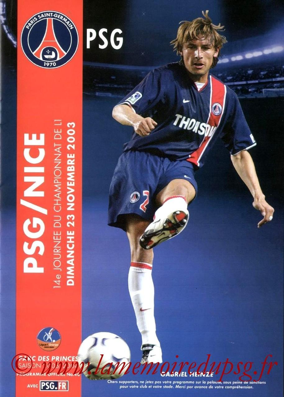 2003-11-23  PSG-Nice (14ème L1, Programme officiel N°40)
