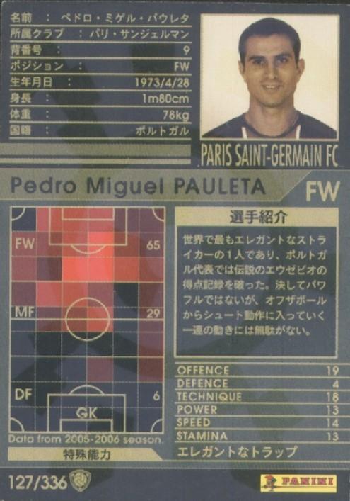 N° 127 - Pedro Miguel PAULETA (Verso)