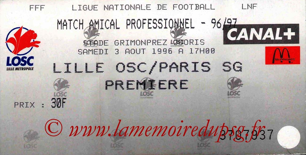 1996-08-03  Lille-PSG (Amical à Lille)