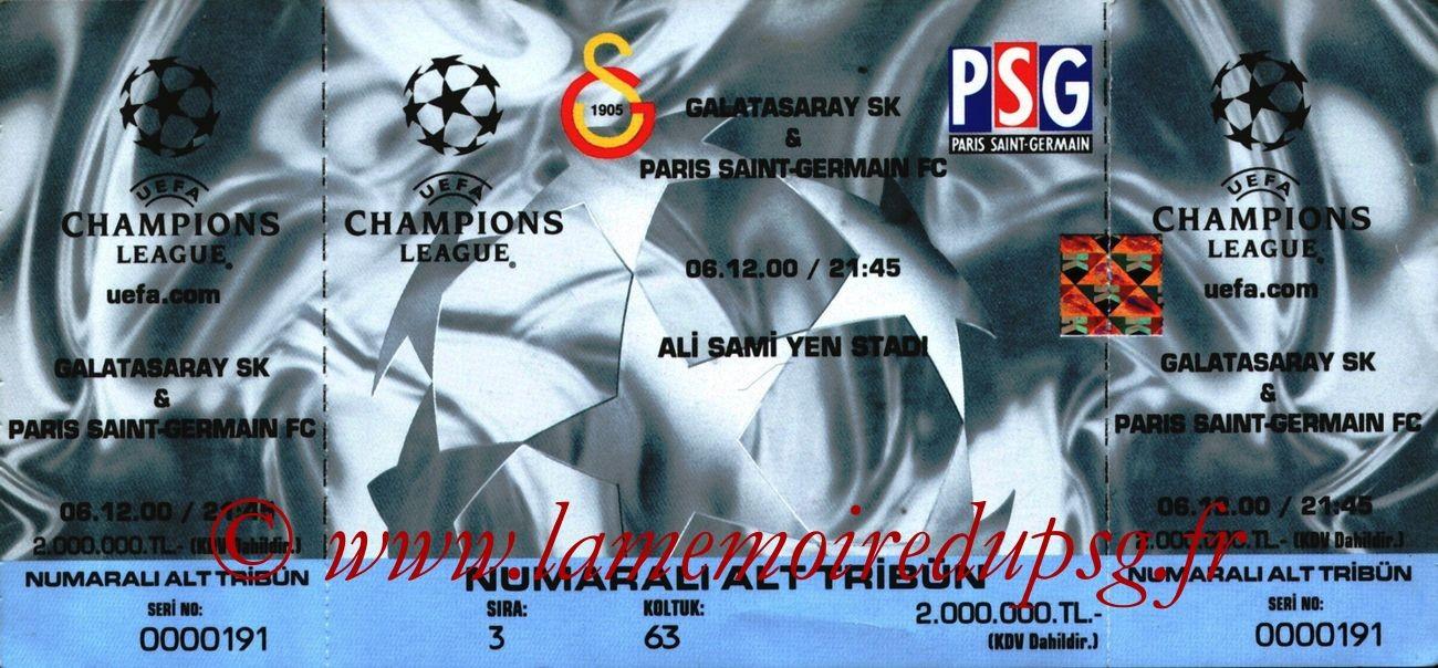 2000-12-06  Galatasaray-PSG (2ème Phase C1, 2ème Journée)