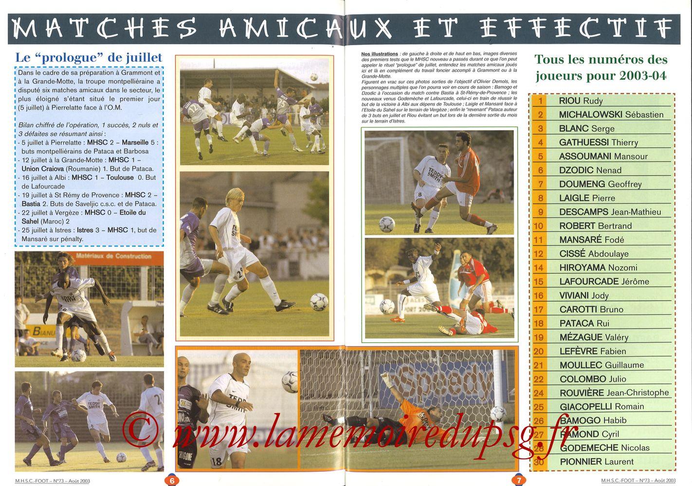 2003-08-30  Montpellier-PSG (5ème L1, MHSC Foot N°73) - Pages 06 et 07