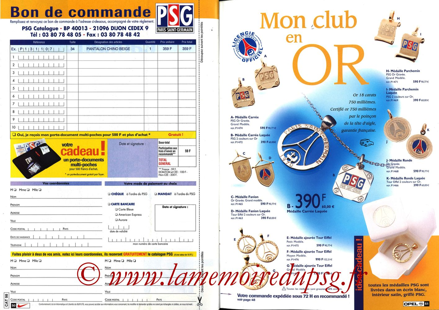 Catalogue PSG - 1998-99 - Pages 50 et 51