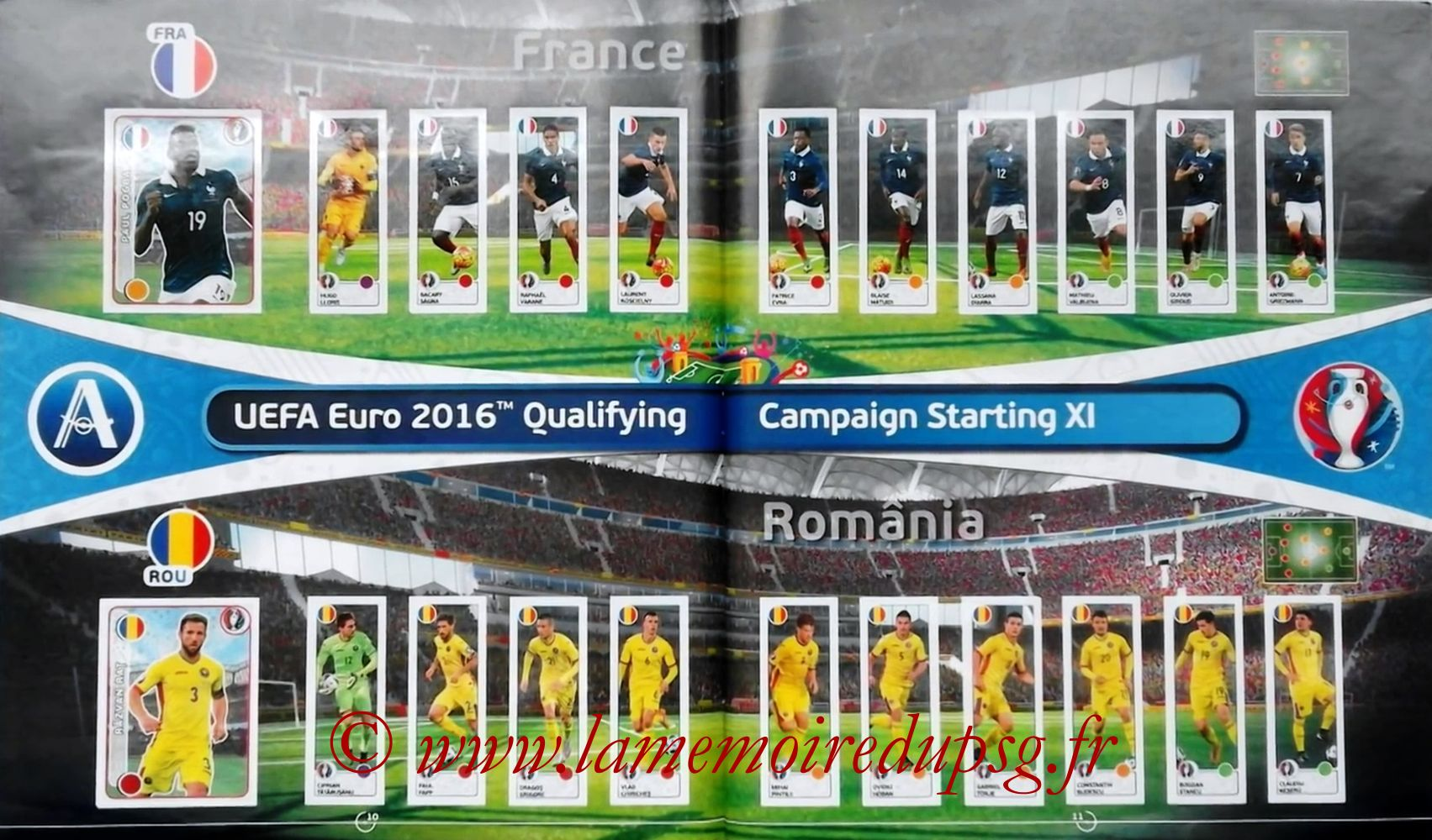 Panini Euro 2016 Stickers - Pages 10 et 11 - France et Roumanie