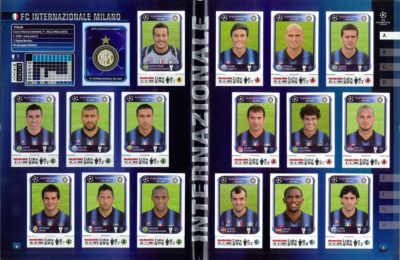 2010-11 - Panini Champions League - Pages 04 et 05 - FC Inter Milan