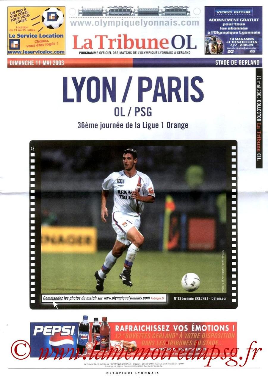 2003-05-11  Lyon-PSG (36ème D1, La Tribune OL)