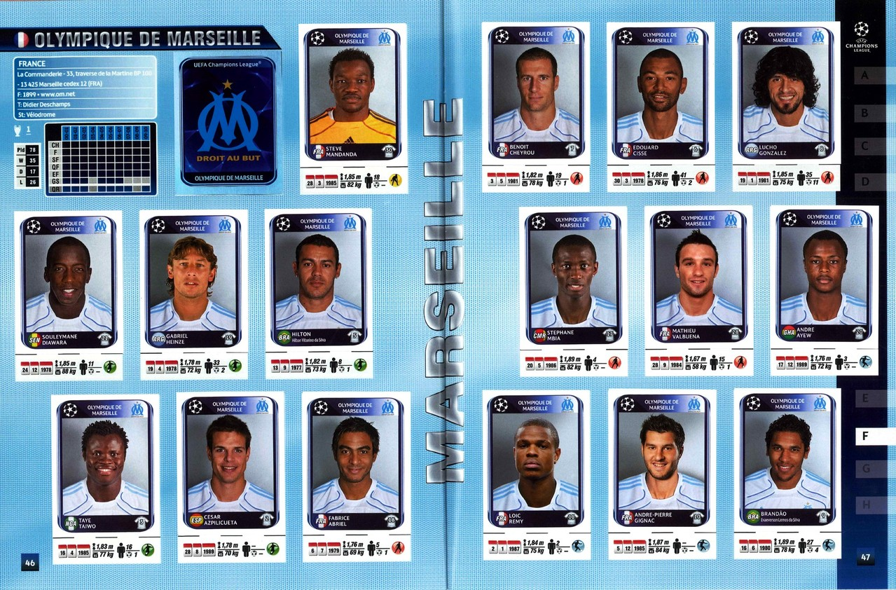 2010-11 - Panini Champions League - Pages 46 et 47 - Olympique de Marseille