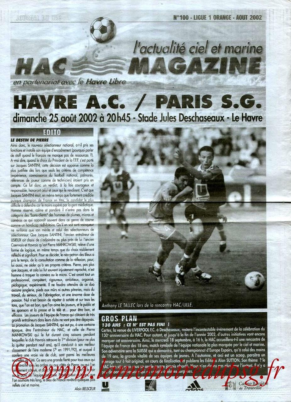 2002-08-25  Le Havre-PSG (4ème D1, HAC Magazine N°100)