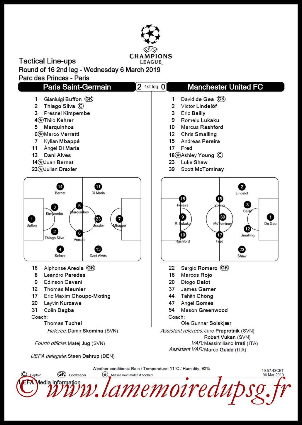 2019-03-06  PSG-Manchester United (8ème Retour C1, Feuille de Match)