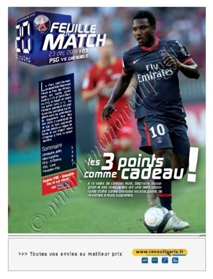 2009-12-23  PSG-Grenoble (19ème L1, Feuille de match N°3)