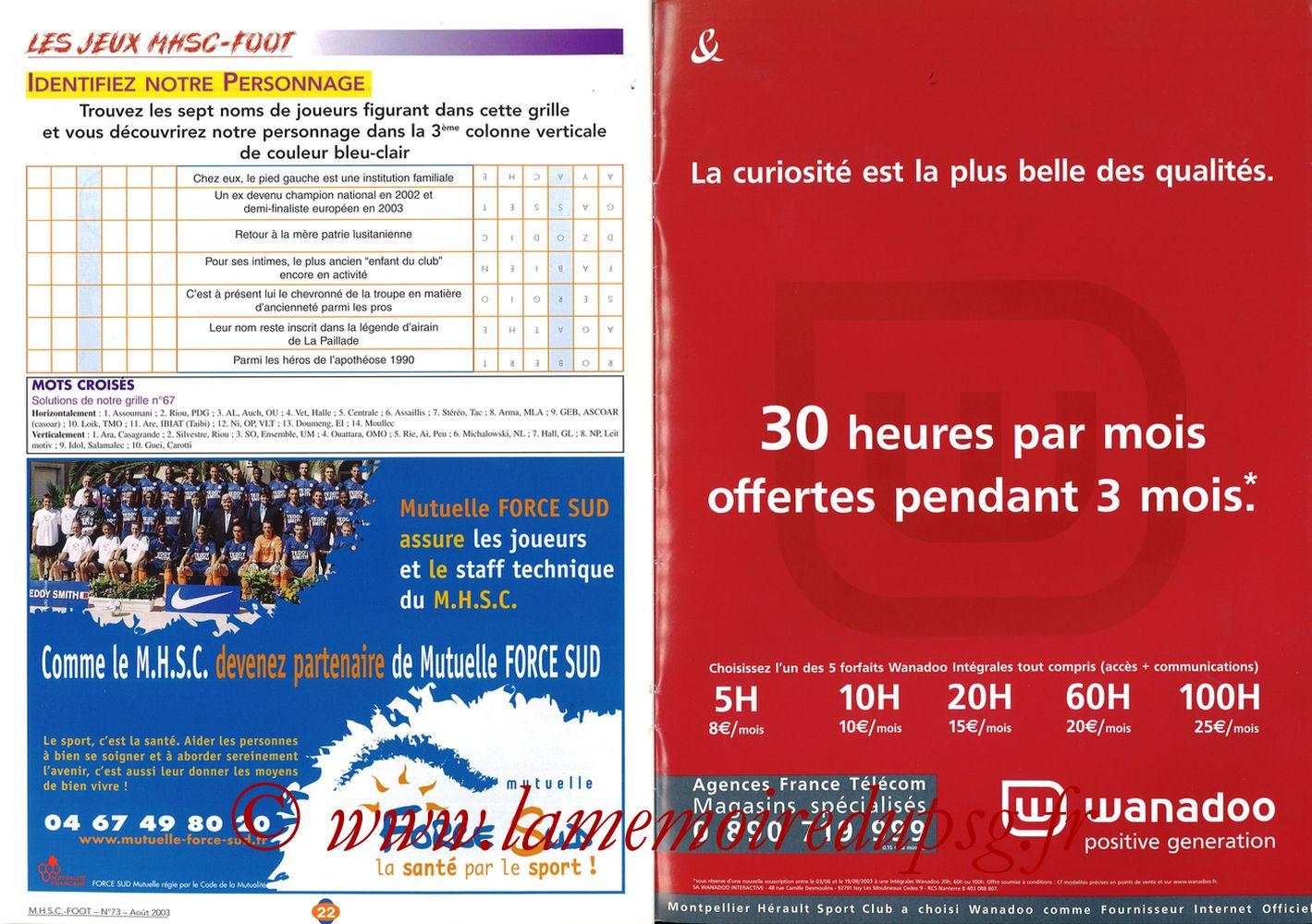 2003-08-30  Montpellier-PSG (5ème L1, MHSC Foot N°73) - Pages 22 et 23