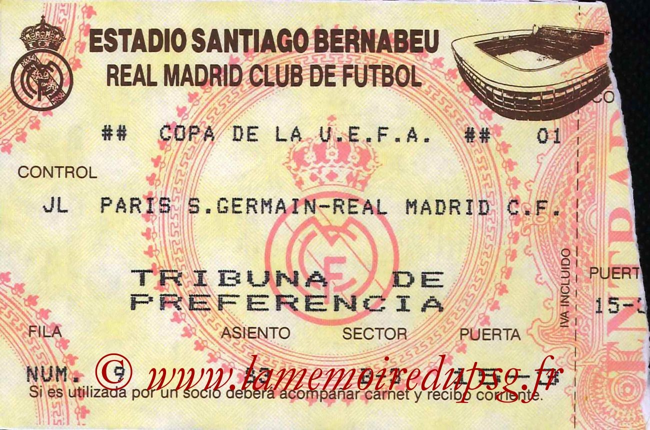 1993-03-02  Real Madrid-PSG (Quart Finale Aller C3)