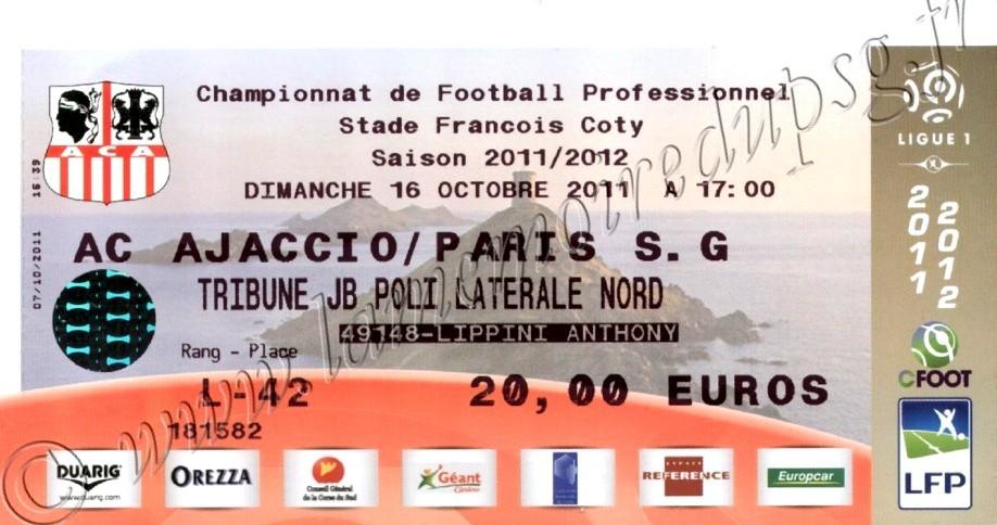 2011-10-16  AC Ajaccio-PSG (10ème L1)
