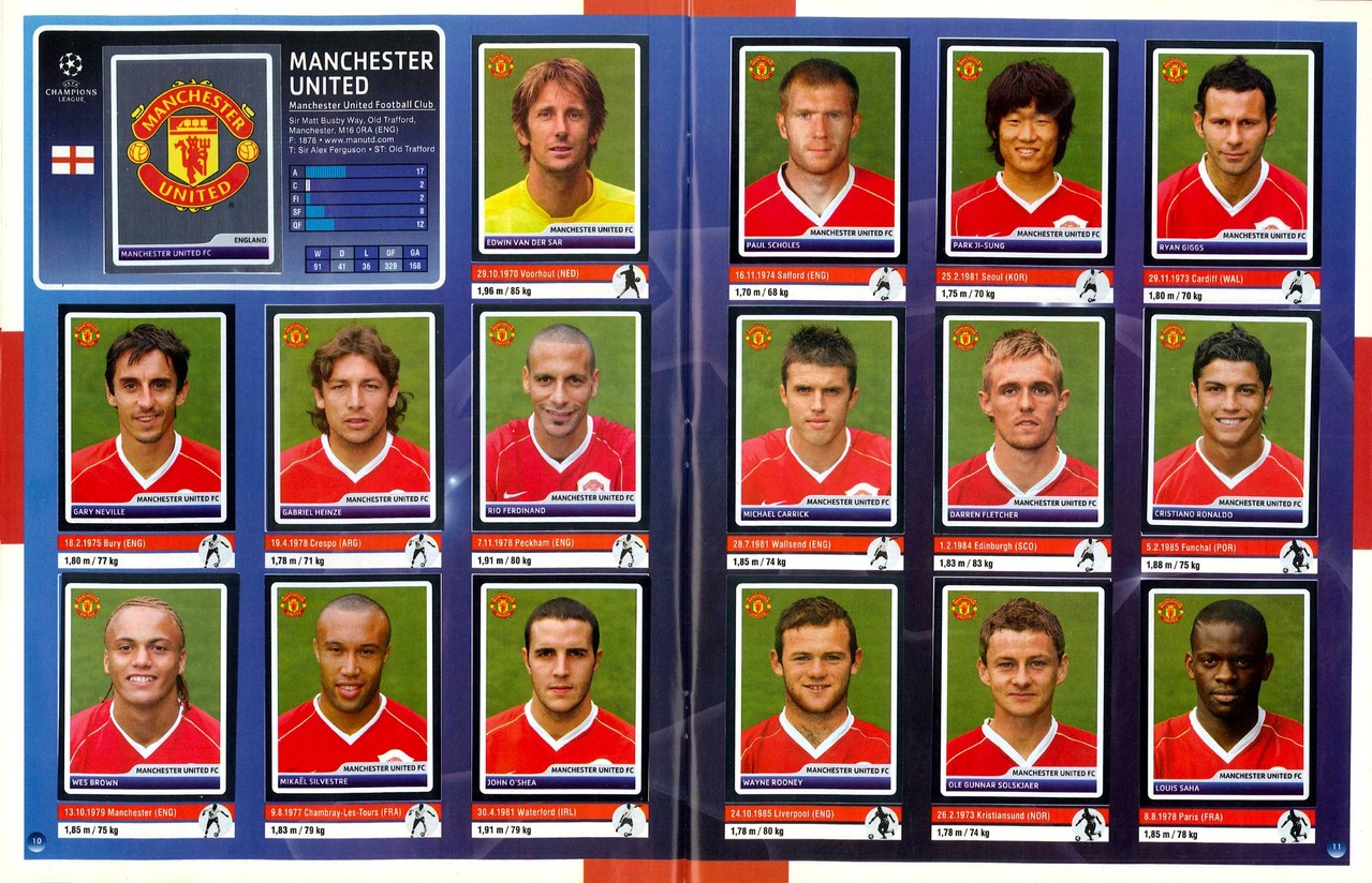 2006-07 - Panini Champions League - Pages 10 et 11 - Manchester United