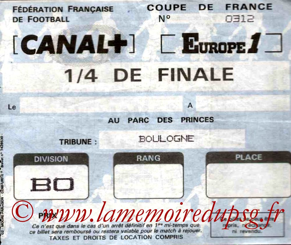 Ticket  PSG-Lens  1985-86