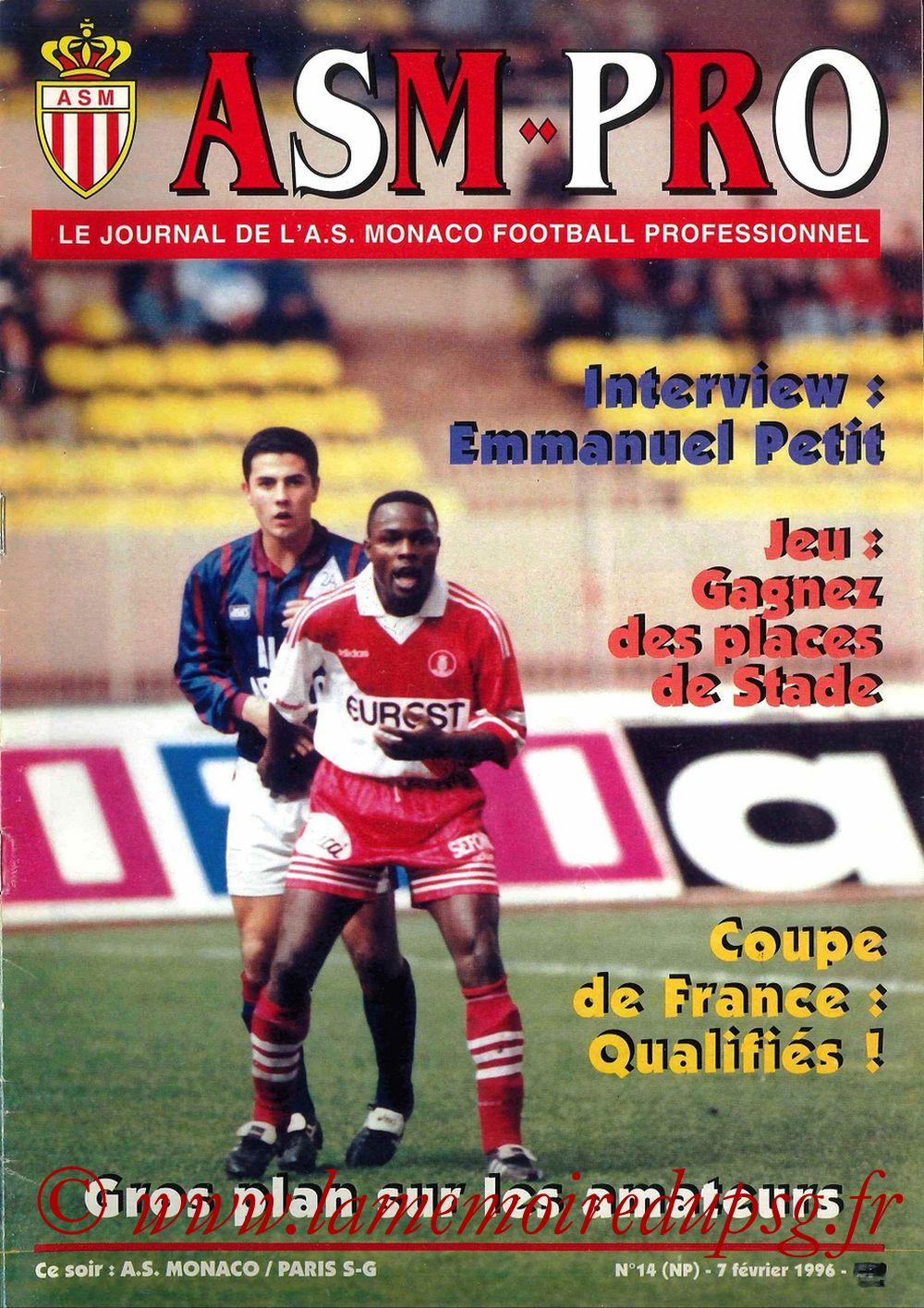 1996-02-07  Monaco-PSG (26ème D1, ASM Pro N°14)