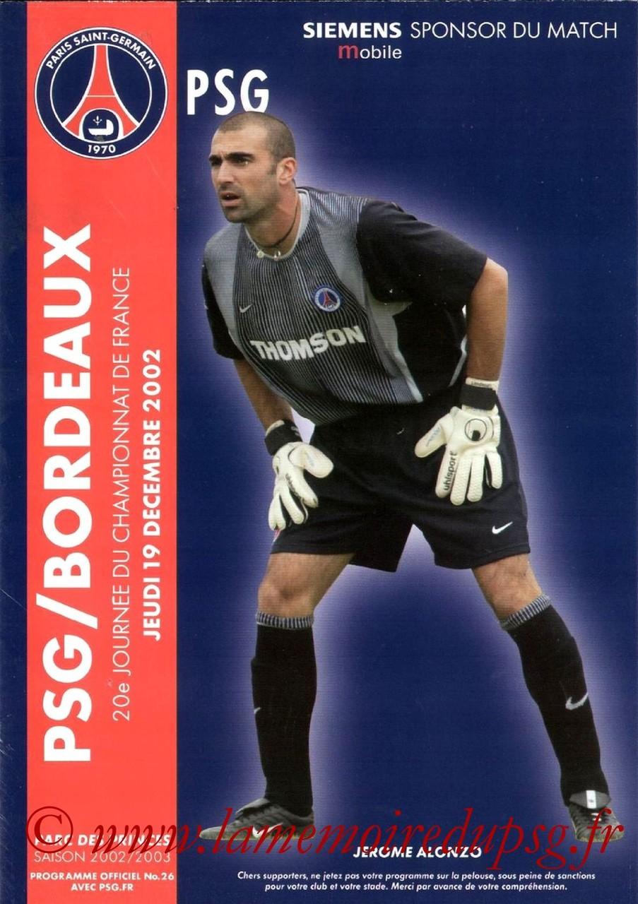 2002-12-19  PSG-Bordeaux (20ème D1, Programme officiel N°26)